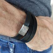 Wickelarmband  aus Leder mit Edelstahlverschluss und Fingerabdruck