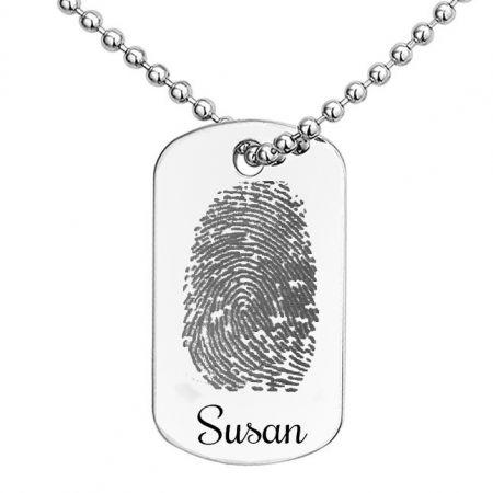 Silberanhänger Dogtag mit Fingerabdruck