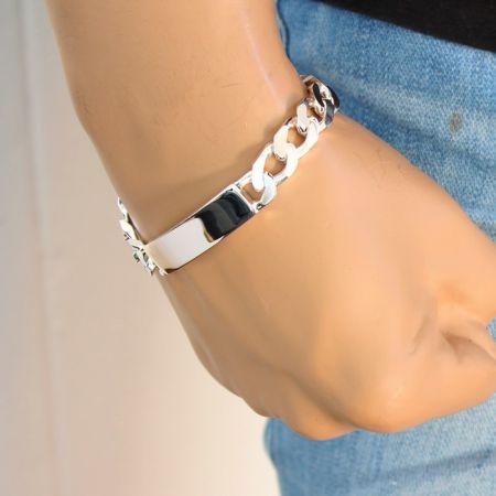 Schildband 925 Sterling Silber- 6 mm Gravur Armband Karabiner
