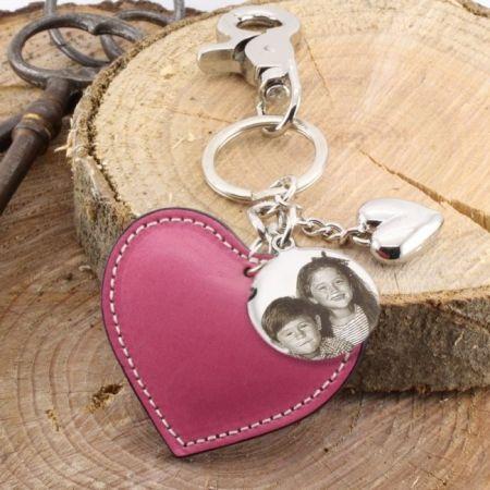 Schlüsselanhänger Herz mit Foto Gravur