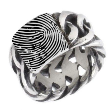 Ring aus Edelstahl mit Ihrem Fingerabdruck
